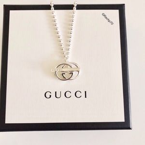 New Authentic Gucci Britt Double G Silver Necklace